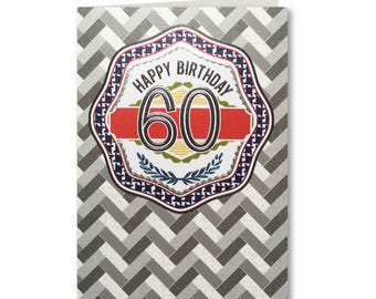 Geo - Birthday Card - Happy 60th Birthday - Handmade Greeting Card - GE19