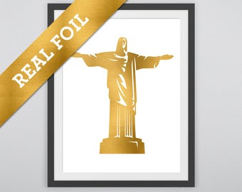Christ the Redeemer Print: The famous statue printed in Real Gold Metallic Foil - Rio de Janeiro - Jesus - Christianity - God - Prayer