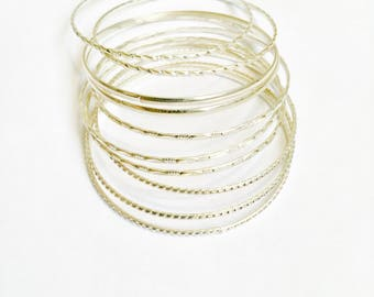 Silver bangles, silver bracelets, bracelet set, summer bracelet, Silver bangle, stancking bracelet, DesiresOfBeauty