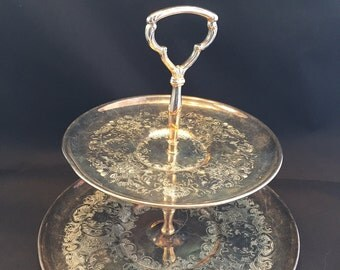 Silver Plated Two Tiered Dessert Tray Tarnished Embossed