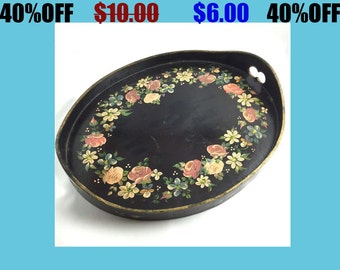 "Vintage Wooden Hand Painted 11"" Tray Floral Black Roses White Pink"