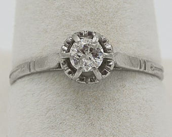 Antique Solitaire Diamond Ring in Platinum engagement