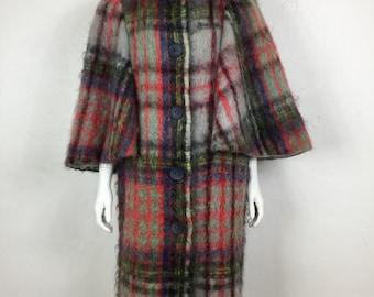 Vtg 50s 60s plaid mohair avant garde batwing angel sleeve coat