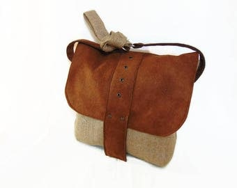 Jute bag and nubuck shoulder bag for women, shoulder bag in jute fabric by Pleasant Home