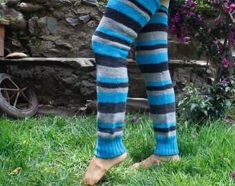 Baby Alpaca yarn legwarmers, long, handknit, Peruvian baby alpaca yarn, handknit legwarmers, Leg warmers, 100% baby alpaca yarn, Peru