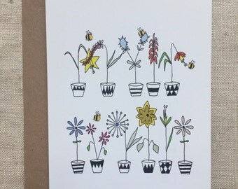 Bees and flowers geometric plant pots greetings card