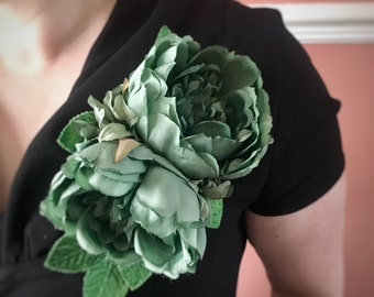 Green corsage - Verdigris peonies with velvet leaves - pin up vintage 40s 50s style - part of a 5 piece coordinating range