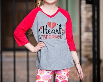 Donuts and Hearts Valentine Leggings, Girls Valentine Leggings, Donut Leggings