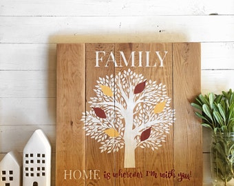 Family Tree Sign | Custom Family Sign | Rustic Earthy Sign | Custom name sign | Gift for family | Farmhouse | Home is wherever I'm with you