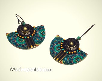 Earrings blue and yellow ears of Bohemian style, a half moon, mandala