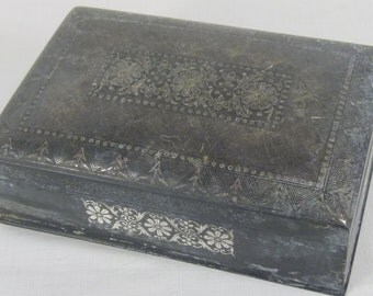 Vintage  engraved tin zinc jewelry box