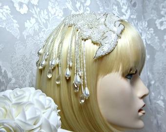 GATSBY HEADPIECE EARRINGS, Art Deco Flapper 1920s roaring 20s White Beaded headpiece, Gatsby Wedding, gatsby accessories, gatsby dress party
