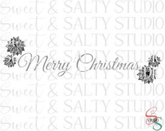 merry christmas poinsettias digital file