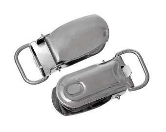 Set of 5 or 10 suspender clips, metal suspender clips, pacifier clips, bib holder