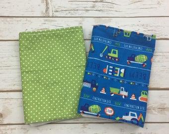 Baby Boy Burp Cloth Set - Construction Baby Shower Gift - Newborn Baby Gift - Truck Burp Cloths - Construction Theme Nursery
