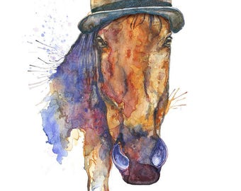 Brown Horse Art Print  Horse Illustration Horse, Horse Print Horse Wall Art Watercolour Horse Print Digital Horse Print Horse Painting Print