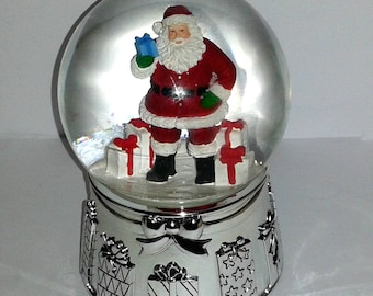 Vintage REED & BARTON Chrome Musical Christmas Snowglobe ~ Very Rare HTF
