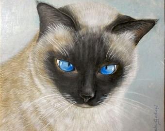 Custom cat portrait, Pet portrait, Ritratto di gatto