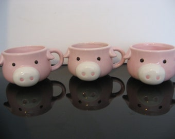 3 little Pink Piggy Mugs
