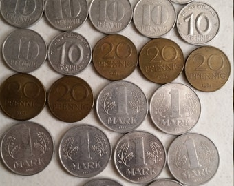 30 east germany vintage coins 1949 - 1988  - coin lot pfennig marks - world foreign collector money numismatic a55