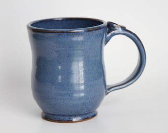 Pottery Mug, Ceramic Mug, Blue Mug, Coffee Mug, Tea Mug