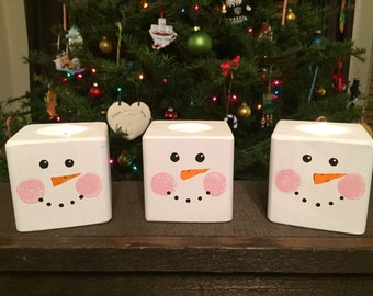 Cheery Snowman Candle Holder Set