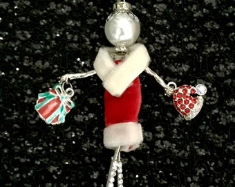 French doll pendant, French doll necklace, Christmas necklace, Ellie's Belles, Merry