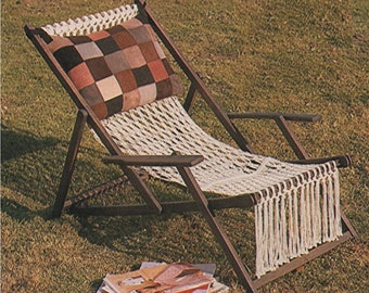 Deckchair Cover PDF Macrame Pattern : Deck Chair . Lawn Chair . Garden Chair . Recycle & Refurbishment Pattern . Instant Digital Download
