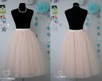 7 Light Blush Tulle Skirt Casual Women's, Tulle Skirt Bridal, Princess Women Tulle Skirt, Princess Skirt, Wedding Blush Tulle Skirt