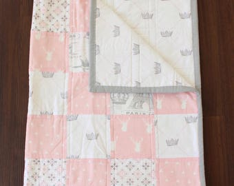 The Jolie Quilt, baby girl quilt, baby quilt, baby blanket, paris nursery, french nursery, woodland nursery, woodland baby, french baby,