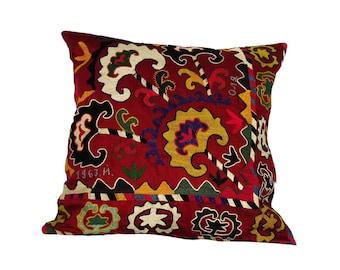 Pillow, Suzani Pillow cases, suzani, suzani embroidery, uzbekistan, silk road, ethnic, vintage pillow case