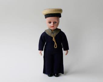 Vintage HMS Pinafore Sailor boy doll. Sailor boy doll. 1950's souvenir Gilbert and Sullivan Sailor boy doll. Blinking eye sailor doll.