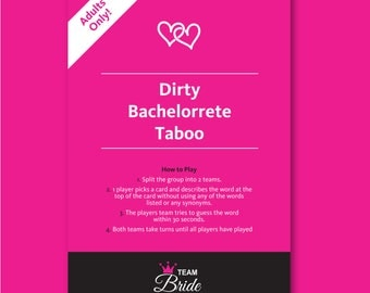 Dirty Bachelorette Taboo - Bachelorette party games, banned words, dont say it, Hen Night games, Instant Download hen party games Team Bride