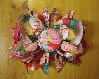 "Peppa Pig 6"" Handmade Boutique Layered Hair Bow - Hot Pink & Multi Color - Girls - Alligator Hair Clip"
