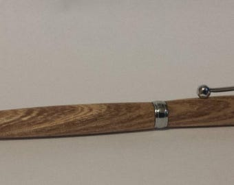 Handmade Northern Catalpa pen with Chrome hardware, Cross style ink, twist to write, salvalged wood, Blue ink included