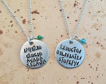Unforgiveable Curses/Spells - Hand Stamped Charm Necklace or Keyring
