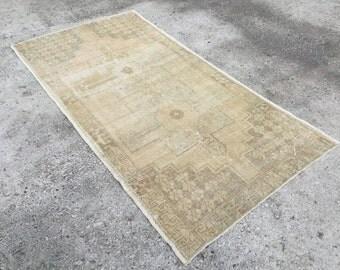 Pastel Color vintage rug, 4x7'9 feet,Turkish Rug, Vintage Carpet, RUG, Vintage Rug, ,Overdyed rug, Oushak Rug, Area Rug, 240x122 cm 5430