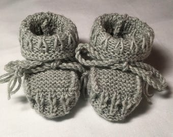 Hand Knitted Booties in a Silver Grey