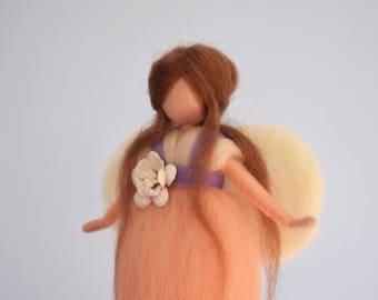 Waldorf inspired fairy, Waldorf doll, Wool doll,  Felted wool, Season table, Felted doll, Fairy in orange dress, Wool fairy, Girl decoration