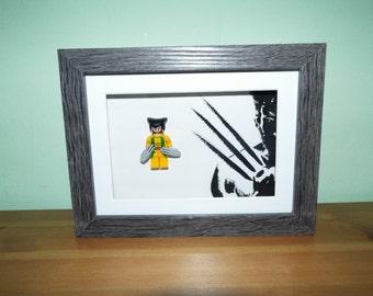 Wolverine, Logan Hugh Jackman custom lego mini figure in a frame