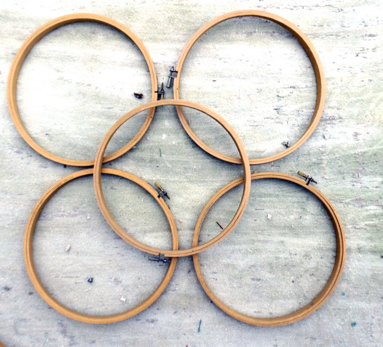 Five Embroidery Hoops Bamboo Tambour Frame 9 Inch Hoops