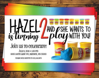 Custom 5x7 Rainbow Play-Doh Party Invite (2y)