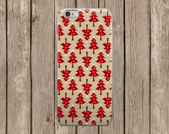 iPhone 5/5s/SE   iPhone 6/6s   iPhone 6 Plus/6s Plus   Red Christmas Trees Design iPhone Case