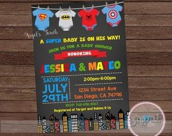 Superhero Baby Shower Invitation, Superheroes Baby Shower Invitation, Superheroes  Baby Shower Chalk, Super