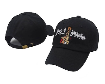 Black embroidered love and basketball movie dad hat