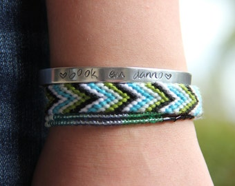 """Hawaii five-0 """"book 'em Danno"""" Animal Awareness,bracelet set: stamped,double wrap Beaded & cotton embroidery."""