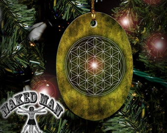 Flower of Life Ornament, Sacred Geometry, Mandala Porcelain with Gold Cord