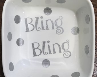Bling Bling Jewelry Holder, Ring Dish, Glitter Jewelry Bowl