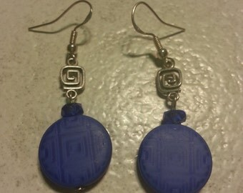 Funky Blue Maze Beaded Earrings