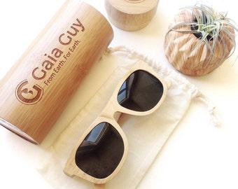 Bamboo Sunglasses and Case, Organic Cotton Pouch, Polarized Lens (UV 400), Classic Wayfarer for Men - Women